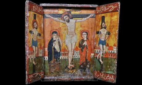 Painted relief depicting Jesus