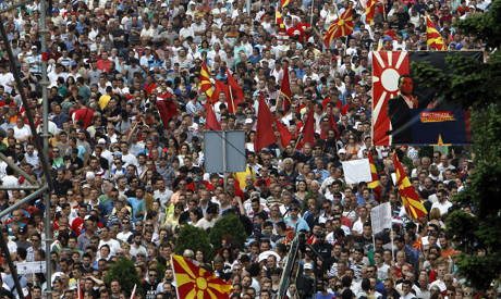Macedonian protesters