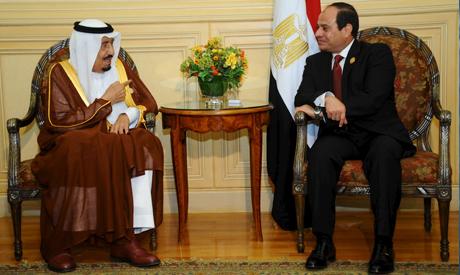 Egyptian President Abdel Fattah El-Sisi with Saudi King Salman