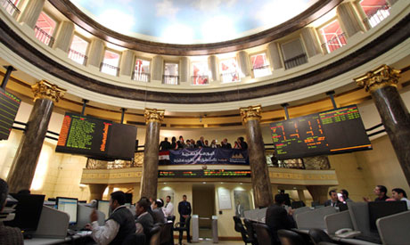 Staff at the Egyptian stock exchange in Cairo