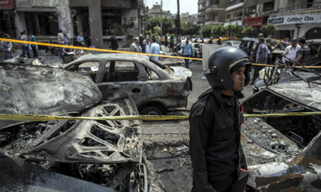 The site of a bombing that killed Egypt's top prosecutor, Hisham Barakat