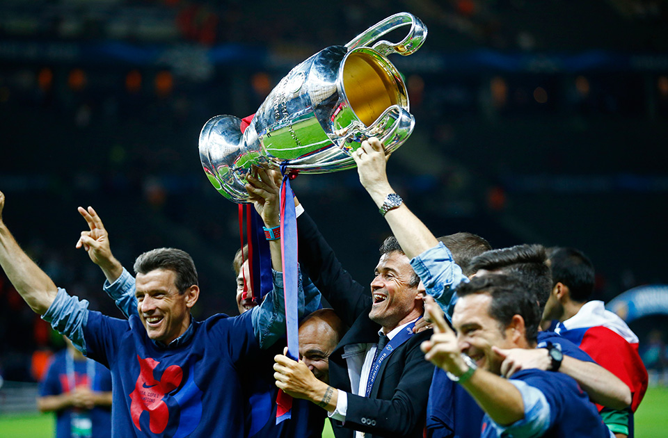 Barcelona Coach Luis Enrique Celebrates With The Trophy After Winning UEFA Champions League At Olympic Stadium In Berlin Saturday June 6