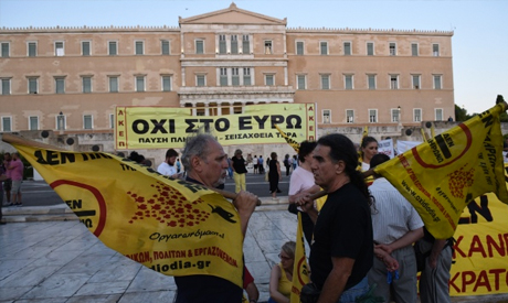 anti-austerity rally outside the Greek Parliament
