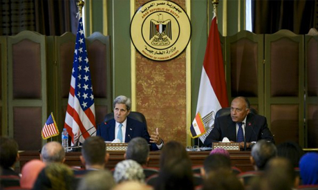Egyptian Foreign Minister Sameh Shukri and U.S. Secretary of State John Kerry