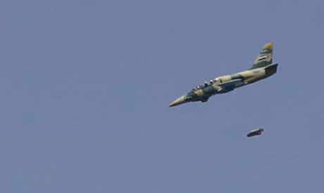 Syrian Air Force fighter jet launches missiles