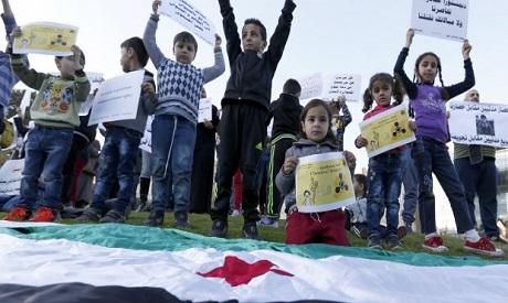 Syrian children protest