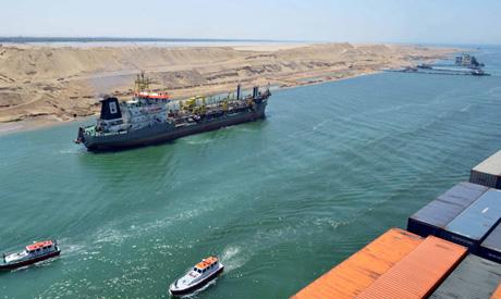 A cargo ship is seen crossing through Egypt