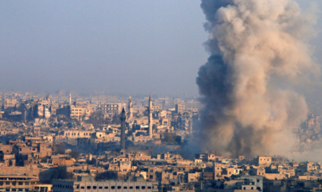 Smoke rises as seen from a governement-held area of Aleppo, Syria (Reuters)