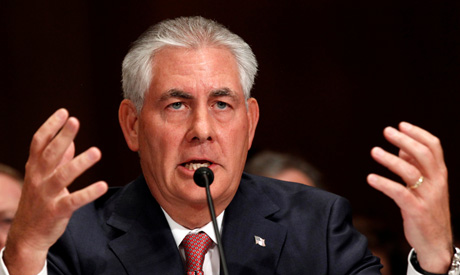Exxon Mobil CEO and Chairman Rex Tillerson speaks as he and other top oil and gas industry executive