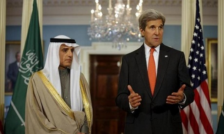 U.S. Secretary of State John Kerry and Saudi Foreign Minister Adel al-Jubeir deliver a statement aft
