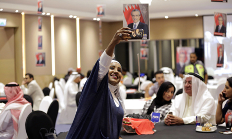 A Bahraini supporter of of Sheikh Salman Al Khalifa