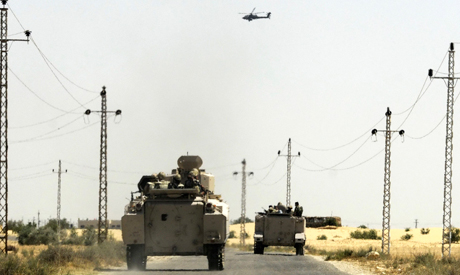 Army vehicle in North Sinai (AP)