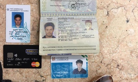 personal belongings of killed Italian graduate student Giulio Regeni