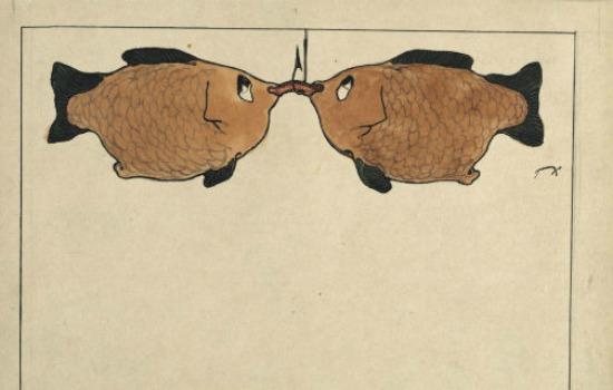 Sans titre [Deux poissions, un hameçon, un ver], 1901.
