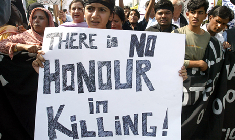 A protest against honor killings in Pakistan