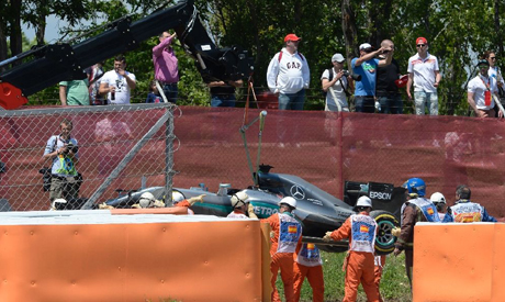 Formula one: Hamilton, Rosberg crash out in Barcelona clash - Omni Sports - Sports - Ahram Online