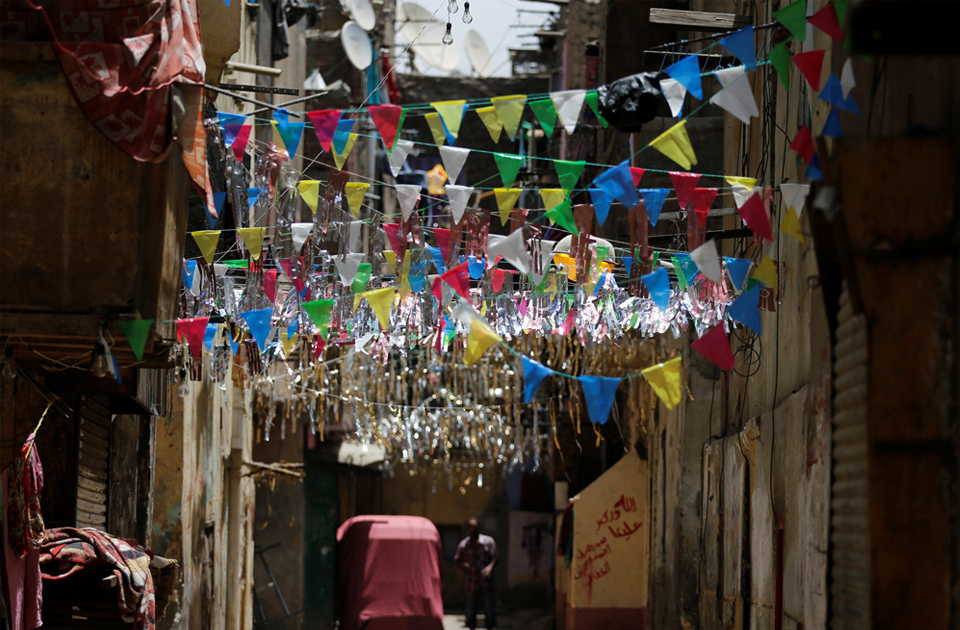 Decorations of the holy month of Ramadan are seen in old Cairo