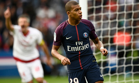 Paris Saint-Germain s French forward Kylian Mbappe celebrates after scoring  his team s 6th goal during the French L1 football match Paris Saint-Germain  ... d63ec4843