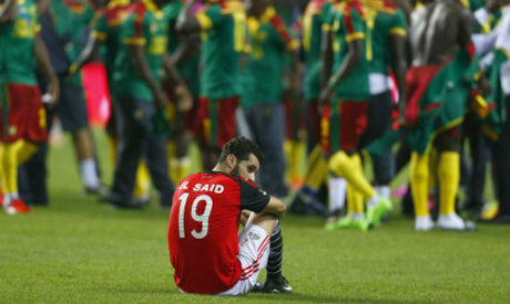 El Said looking dejected after the 2-1 Cup of Nations final loss to Cameroon