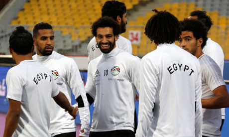 94cfb1a8966 Egypt's Mohamed Salah smiles next to his teammates. (Photo: Reuters)