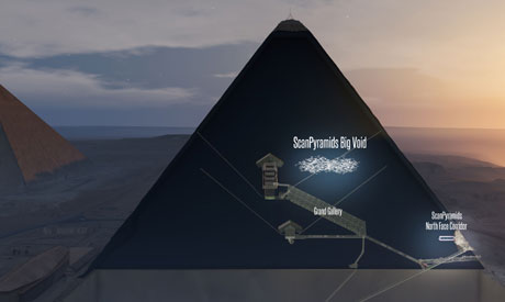 This handout 3D artistic view made by the ScanPyramids mission and released on November 2, 2017 (AFP