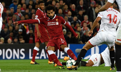 Mohamed Salah created a little bit of Champions League history by scoring in Liverpool