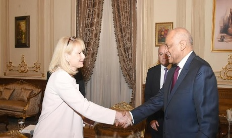 Egypt's parliament speaker Ali Abdel-Aal receives German MP Karen Mag, who heads the Egypt ‎Friends