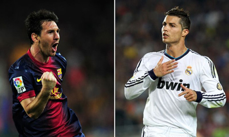 Barcelona forward Lionel Messi (left) and Real Madrid