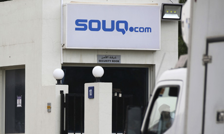 A truck is parked at the entrance of the Souq.com warehouse in Dubai (Reuters)