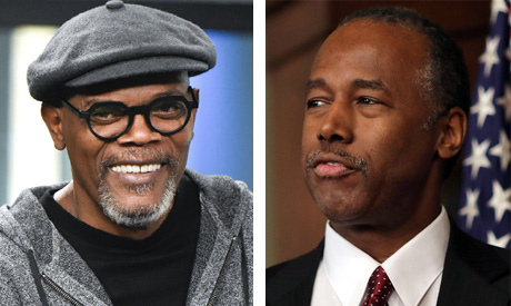 Actor Samuel L. Jackson and New secretary of the Department of Housing and Urban Ben Carson
