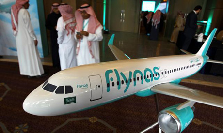 A model of Saudi airline Flynas is on display (Reuters)