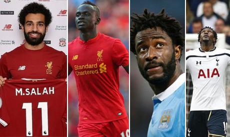 Mohamed Salah, Sadio Mane, Wilfried Bony and Emmanuel Adebayor