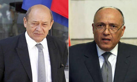 Jean-Yves Le Drian and Shoukry