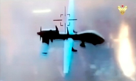 U.S. military drone flying over southeast Syria
