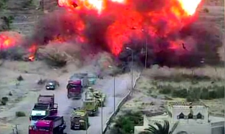 Egyptian tank runs over explosive-laden vehicle