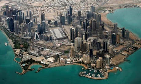 An aerial view of Doha