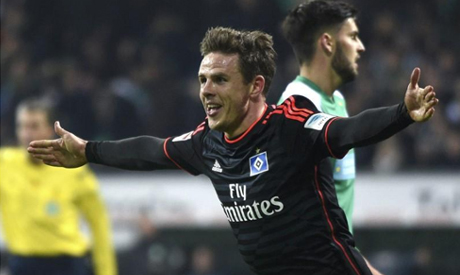 Nicolai Muller: Hamburg winger celebrates goal and ruptures knee ligament