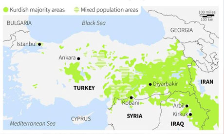 Map Of The Middle East Showing Kurdish Distribution Photo Reuters