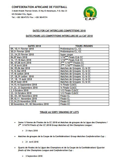 Confederation Cup Calendario.Caf Announce A Full Calendar For The 2018 Champions League