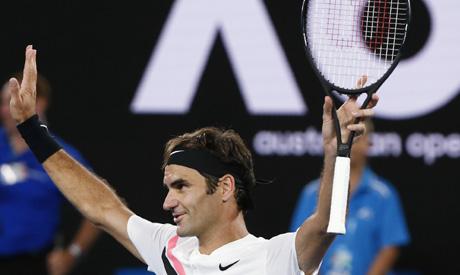 Roger Federer of Switzerland celebrates (Reuters)