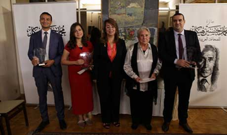 (L-R) Ahmed El-Derini, Marina Milad, Minister Ghada Wali, Hedayat Taymour and Mohamed Khayal (Mohame