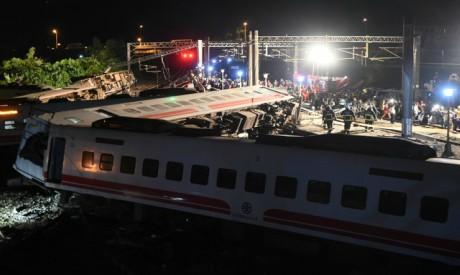 Train flip in Taiwan