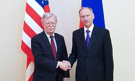 U.S. National Security Adviser John Bolton, left, and Russian Security Council chairman Nikolai Patr