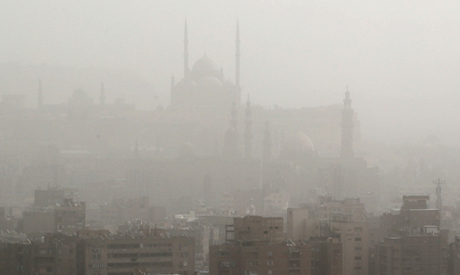The Citadel of Salah El Din and mosques are seen through a sandstorm in Cairo, Egypt  October 25, 20