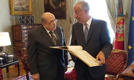 Portuguese President Marcelo Rebelo de Souza with Director of BA Mustafa El-Fiki