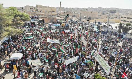 Syrian protesters in Idlib
