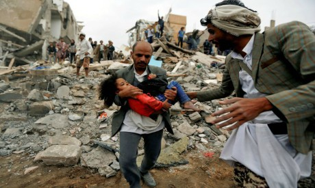 Site of an air strike, Yemen