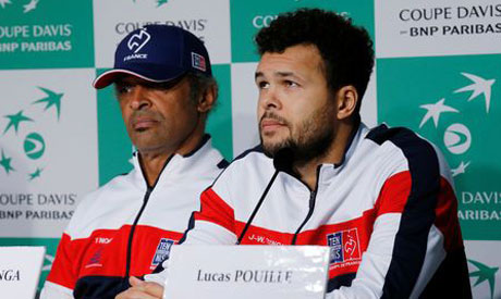 France captain Yannick Noah with Jo-Wilfried Tsonga during the draw press conference (Reuters)