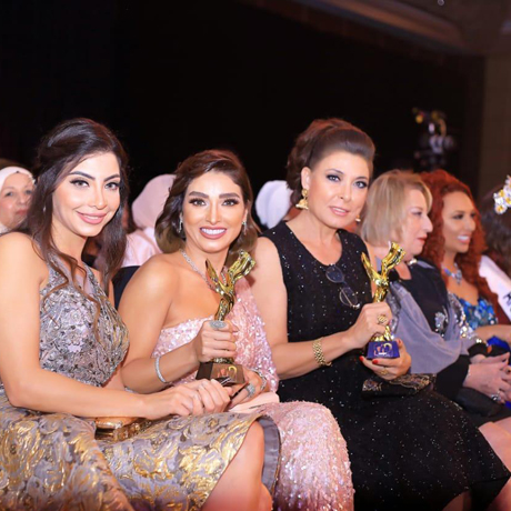 Left to Right: Egyptian T.V presenter Doaa Saleh , Rojina and Anouska  with their awards  photo by Y