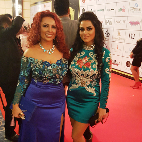 Armenian Fashion designer Nuria and her assistant Lili on the red carpet photo Ghada Abdel-Kader